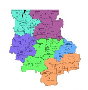 This is the map of the regions and the school districts in those regions.