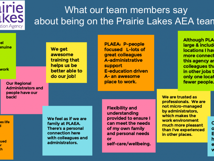 statements from our staff about why you should work at prairie lakes aea