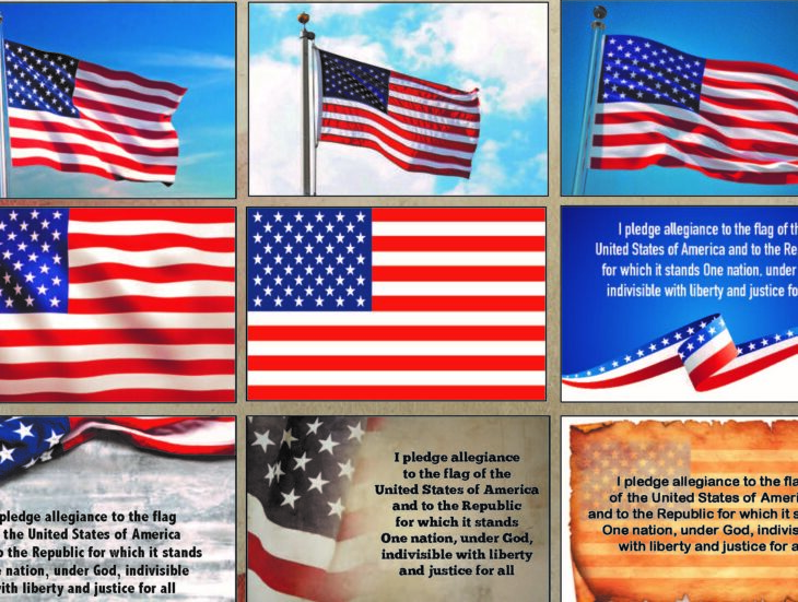 Images of the united states flag and pledge of allegiance
