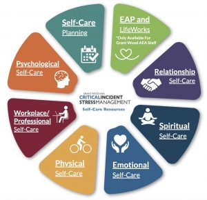 Self-Care Wheel. Text on image displays the same self-care categories listed.